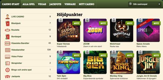 Spelutbud hos Casinostugan
